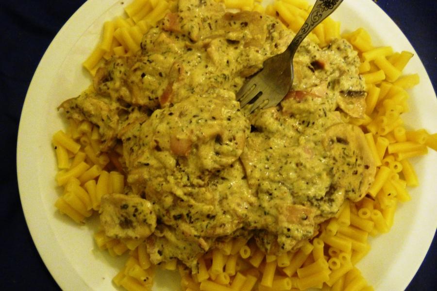 Macaronis aux champignons et aubacon