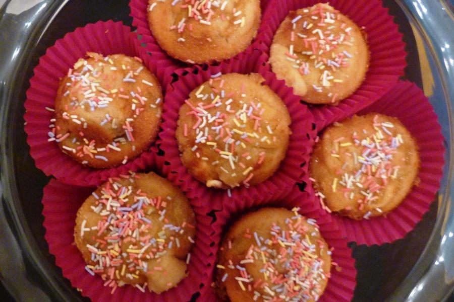 Muffins à la mangue, à la vanille et au chocolatblanc