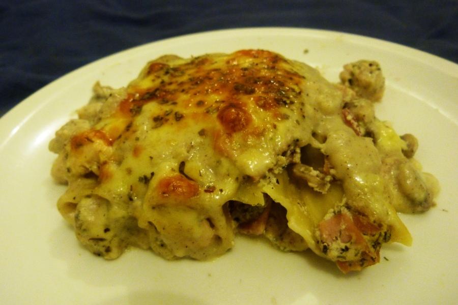 Cannellonis au poulet, bacon etchampignons
