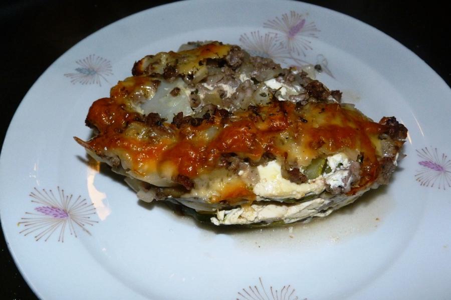 Gratin de pommes de terre et d'aubergines à la viande et au thym (WW 8SP)