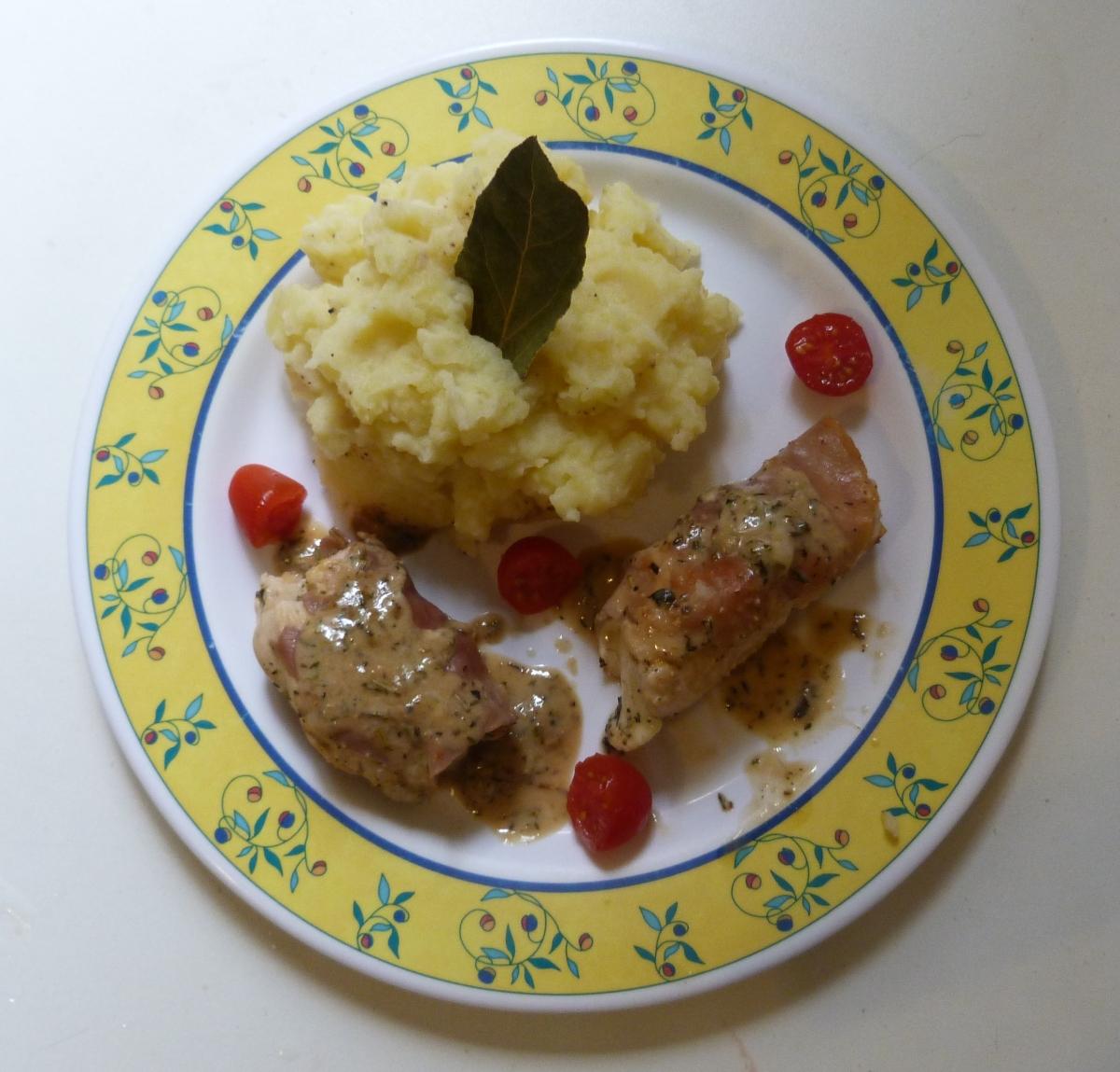 Saltimbocca de poulet à la mozzarella et son écrasé de pommes de terre