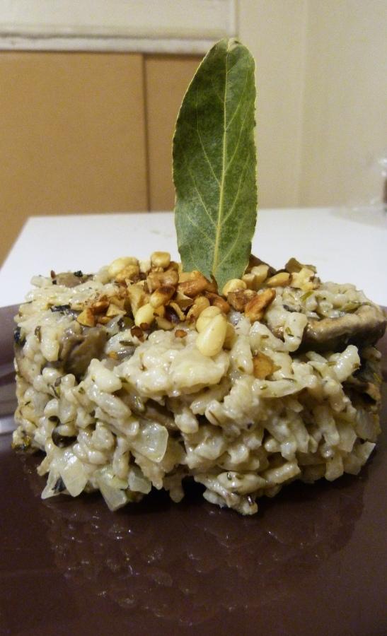 Risotto aux champignons, poivre vert et crème de SaintAgur