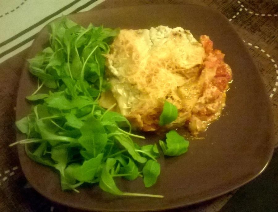Lasagnes végétariennes au potiron, roquefort etchampignons