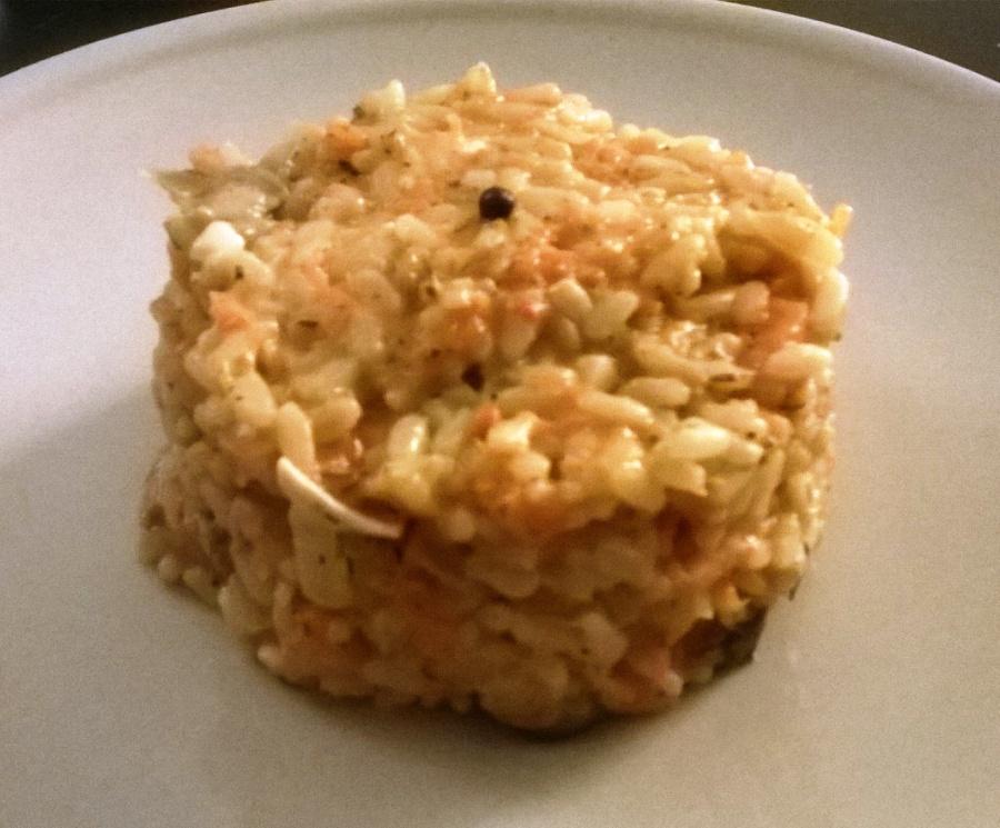 Risotto au potiron, champignons des bois, fromage de chèvre etthym