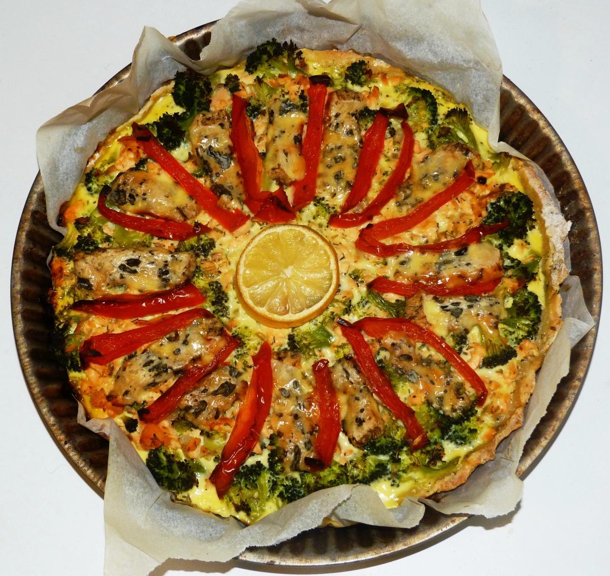 Quiche légère au saumon, brocolis et fourme d'Ambert