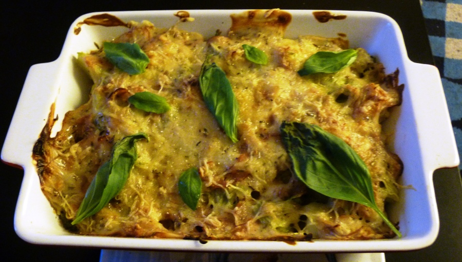 Gratin de brocolis et chou-fleur au bacon etbasilic
