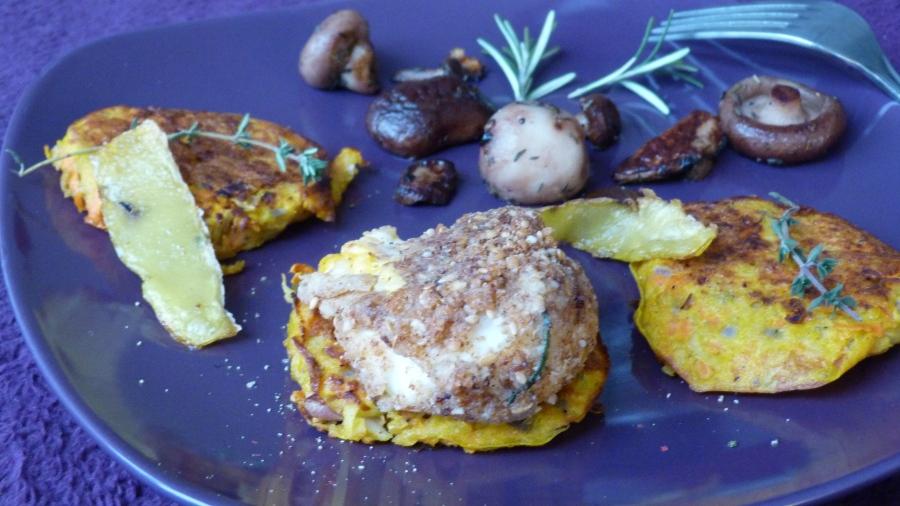 Foodista Challenge #27 : Oeuf mollet en robe crousti-noisettes, röstis de carottes et poêlée dechampignons