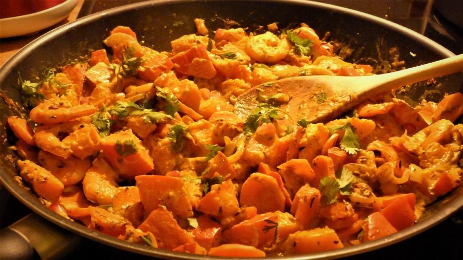 Bataille Food #50 : Poêlée de crevettes épicées aux légumes d'automne, lait de coco etmiel