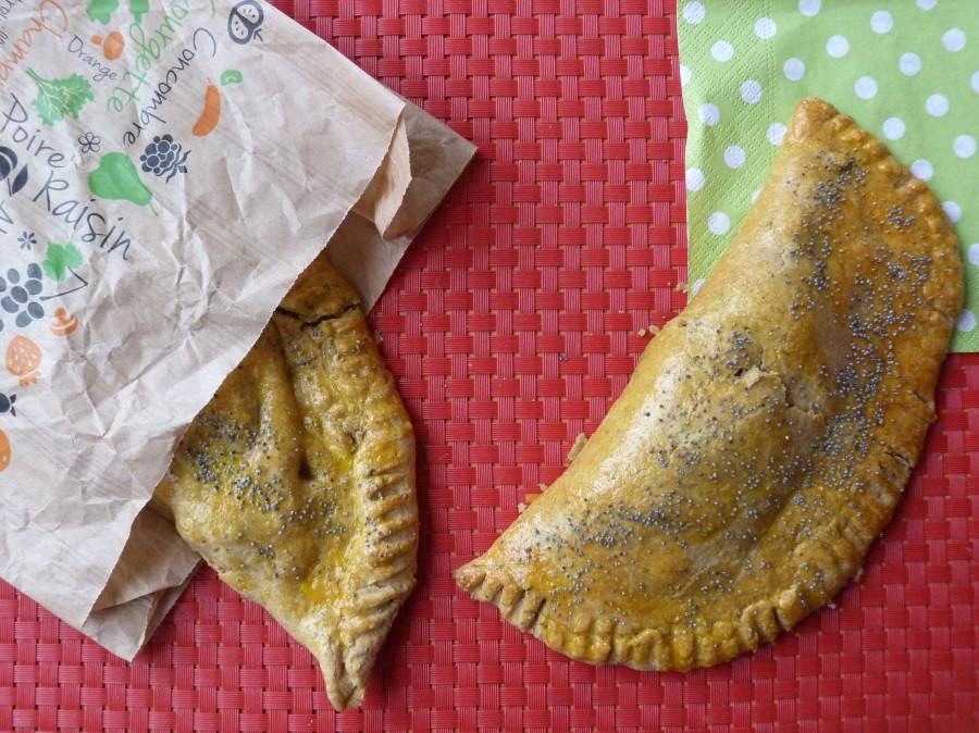 Chaussons de petit épeautre au potimarron rôti, pesto de chou kale etféta