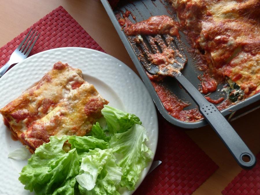 Lasagnes roulées aux épinards frais, champignons etbrousse