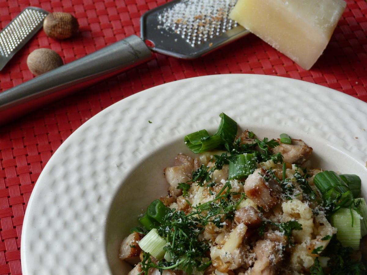 Battle Food #60 : petit épeautre façon risotto aux champignons, ciboules et porc croustillant