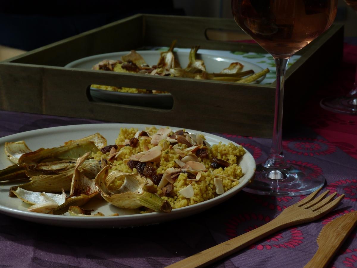 Fenouil rôti aux épices et semoule parfumée