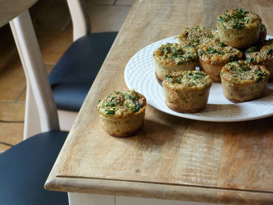 Muffins aux courgettes, tomme de chèvre et tomatesséchées